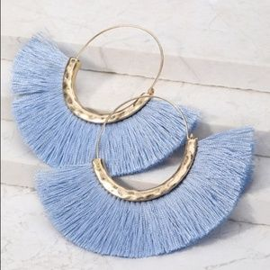 LAST PAIR! Periwinkle fanned fringe earrings